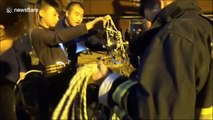 Chinese teenager lowers himself down narrow well for six times to rescue trapped toddler