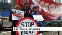 Anti-Brexit protesters gather outside British embassy in Brussels
