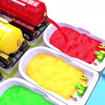 Learn Colors with Water Tank Truck Baby Monkey Bath Time Nursery Rhymes for Kid Children