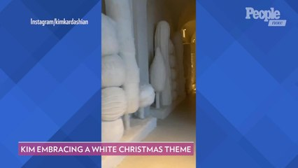 Kim Kardashian Reveals Her Monochromatic Abstract Christmas Decorations