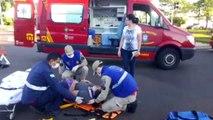 Ocupantes de moto ficam feridas em colisão de trânsito na Avenida Tancredo Neves