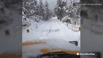 California crews spent their Thanksgiving plowing serene, snow-covered roads