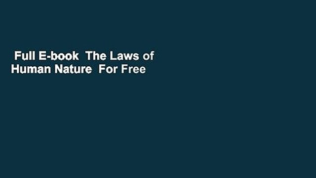 Full E-book  The Laws of Human Nature  For Free