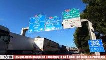 Les routiers bloquent l'autoroute A8 à hauteur d'Aix-en-Provence