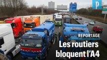 Prix du gazole : des routiers bloquent l'autoroute A4