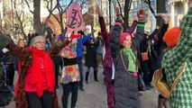 Extinction Rebellion stage climate justice-themed disco dance party in New York's Union Square