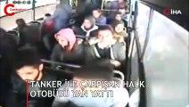 Tanker ile çarpışan halk otobüsü yan yattı