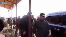 """شاهد شبيحة تاجر أسد """"حسام قاطرجي"""" وهم يؤدون التحية العسكرية له"""