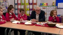Jeremy Corbyn visits a primary school in Heysham