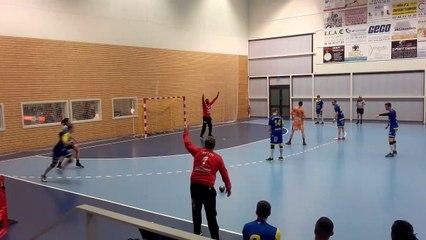 Handball   Penalty en finesse réussi par Thibaut Dhenin (Plobsheim-Metz)