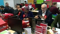 Jeremy Corbyn takes part in phone banking in Glasgow