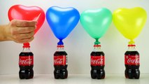 4 Bottles balloons with Colored Water - Learn Colors with Coca cola Bottles Surprise Pj Masks toys