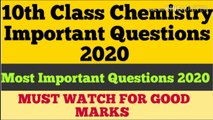 10th Class Chemistry Important Questions 2020 || 10th Class Chemistry Guess Papers 2020
