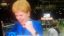 Nicola Sturgeon cheers as Jo Swinson loses her seat
