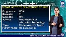 MCA || Ms. Sania Kukkar || Printers and its types || TIAS || TECNIA TV