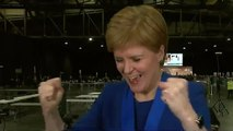 Nicola Sturgeon reacts to news that Lib Dem leader Jo Swinson lost her seat to the SNP