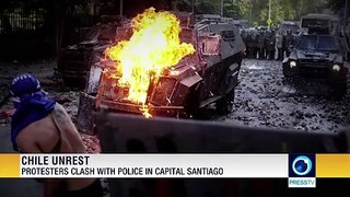 Protesters clash with police in capital Santiago