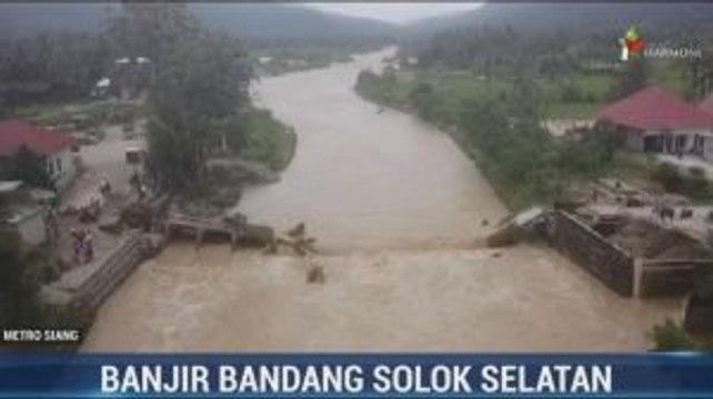 Kondisi Jembatan Putus Dihantam Banjir Bandang Solok Selatan