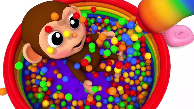Learn Colors with Little Baby Monkey Stacking Ring Finger Song for Kid Children