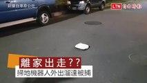 太認真!掃地機器人偷溜出門 路上閒晃被捕獲(翻攝自爆料公社)