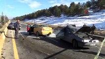 Ağrı'da zincirleme trafik kazası: 2 kişi yaralı
