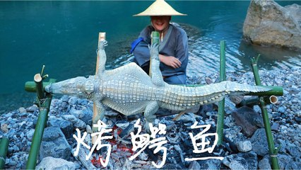 【Shyo video】2000元買一條20斤的鱷魚,放到火上一烤,6个小時後,竟吃出雞肉味