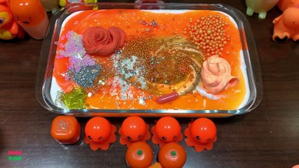 Festival of Orange !! Mixing Random Things Into Glossy Slime !! Satisfying Slime Smoothie #829