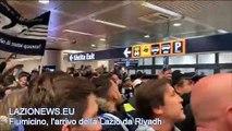 Fiumicino, l'arrivo della Lazio dopo la vittoria della Supercoppa