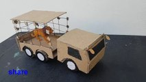 Animals Cage Vehicle | Zoo Vehicle With Cardboard | Lion cage