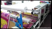 Roll to roll heat transfer calandra for roller fabric heat press