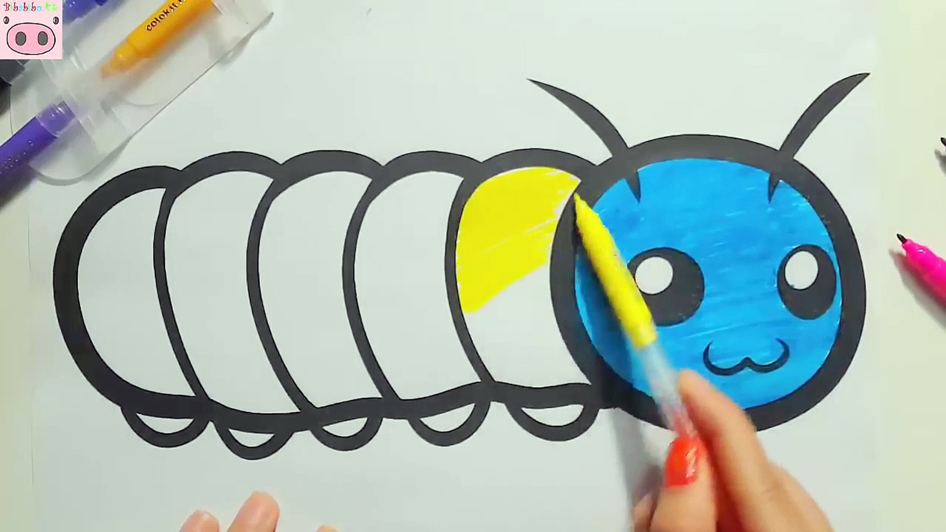 Animals Coloring Pages For Kids Colorful Worm Cute Video Dailymotion