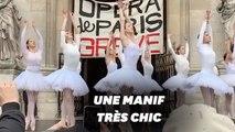 Contre la réforme des retraites, la performance des danseuses devant l'Opéra de Paris