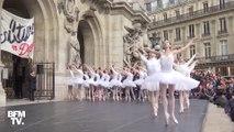 Retraites: les danseurs de l'Opéra de Paris interprètent le Lac des Cygnes sur le parvis du monumenter