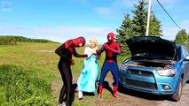 Frozen Elsa, Spiderman, Spidergirl, they repair cars are broken