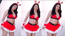 OMG !! Sherlyn Chopra RAISE the TEMPERATURE in her Sensuous Santa look - #Biscoottv