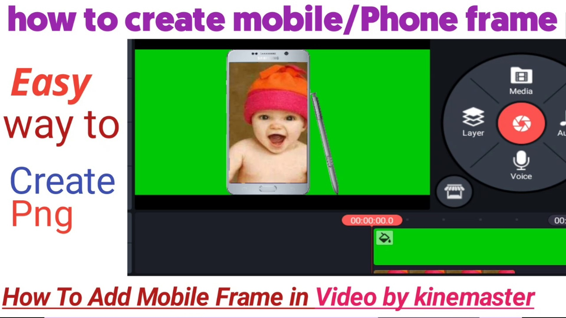 How to add mobile frame in video by kinemaster|How to create Mobile png