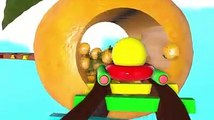 Pacman travel around fruit rail and he meets a ladybug, sail, plane toy, ice cream car