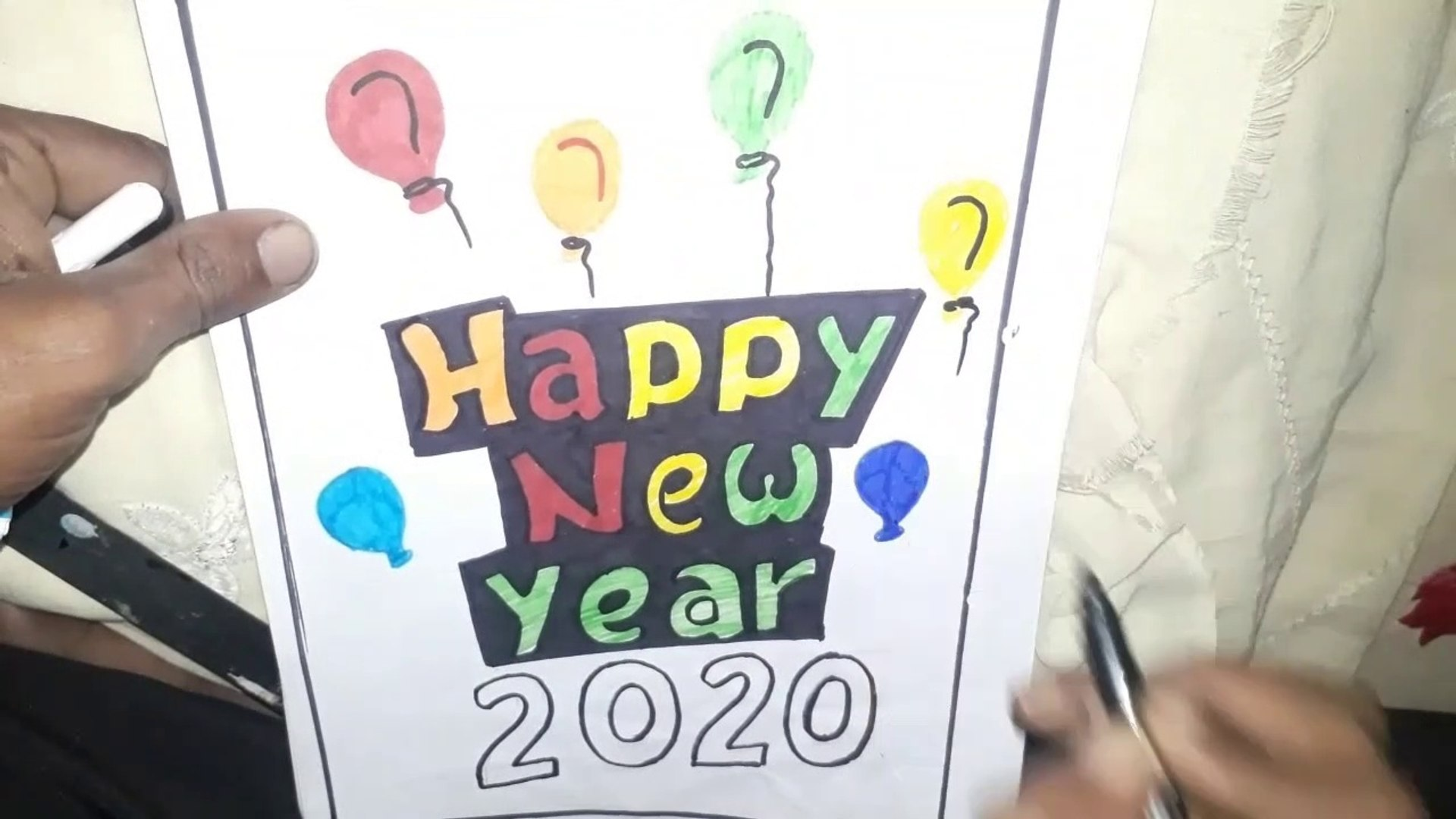 happy new year 2020 drawing, happy new year drawing 2020, happy new year drawing card, how to draw h
