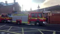 A man has been hospitalised with serious burns after a fire broke out at a Portsmouth homeless hostel