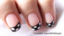 Checkerboard Manicure!! _ Cute French Tip Nail Designs