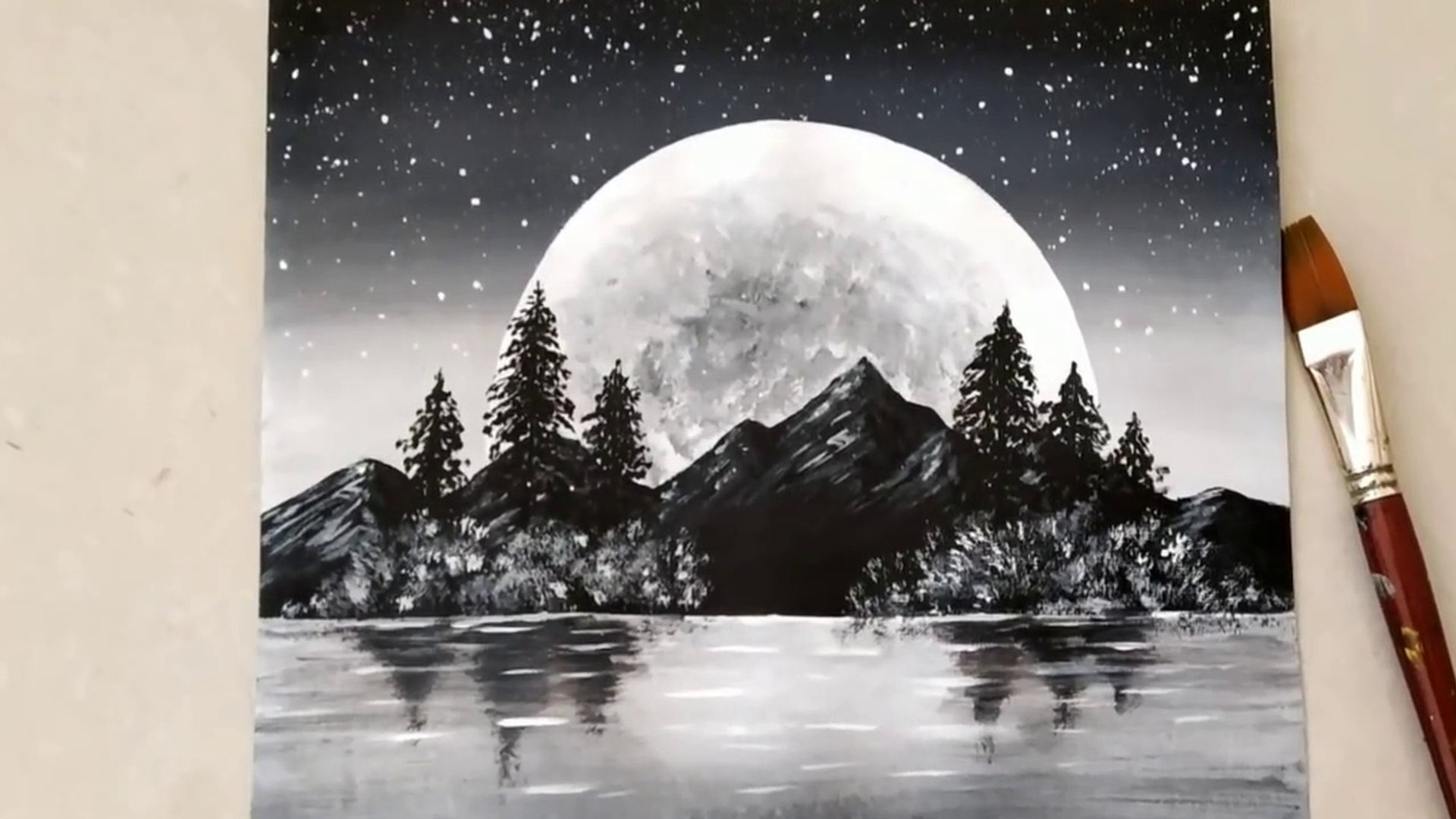 Black & White | Easy Landscape Painting for beginners | Acrylic Painting Technique | Acrylic Pai
