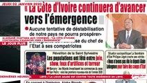 Le Titrologue du 02 Janvier 2020 : Alassane Ouattara aux Ivoiriens, «La Côte d'Ivoire continuera d'avancer vers l'émergence»
