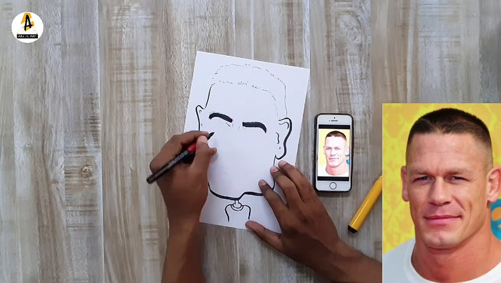 How To Draw John Cena Caricature John Cena Cartoon Drawing Akils Art Video Dailymotion