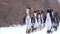 North Korean TV broadcasts video of Kim on horseback in winter snows