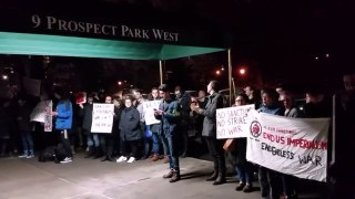 Protesters rally outside Chuck Schumer's home to oppose war on Iran