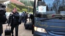 Coupe de France : l'arrivée des joueurs de Lille au stade Gasser de l'US Raon-l'Etape