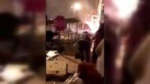 Kaza yapan kamyonet, eve çarparak alev aldı: 4 yaralı