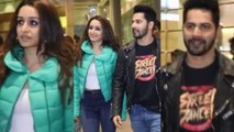 Varun Dhawan With Shraddha Kapoor Snapped At The Airport Post Street Dancer 3D Promotion In Delhi