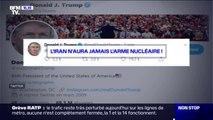 """""""L'Iran n'aura jamais l'arme nucléaire !"""" : le dernier tweet provocateur de Donald Trump"""