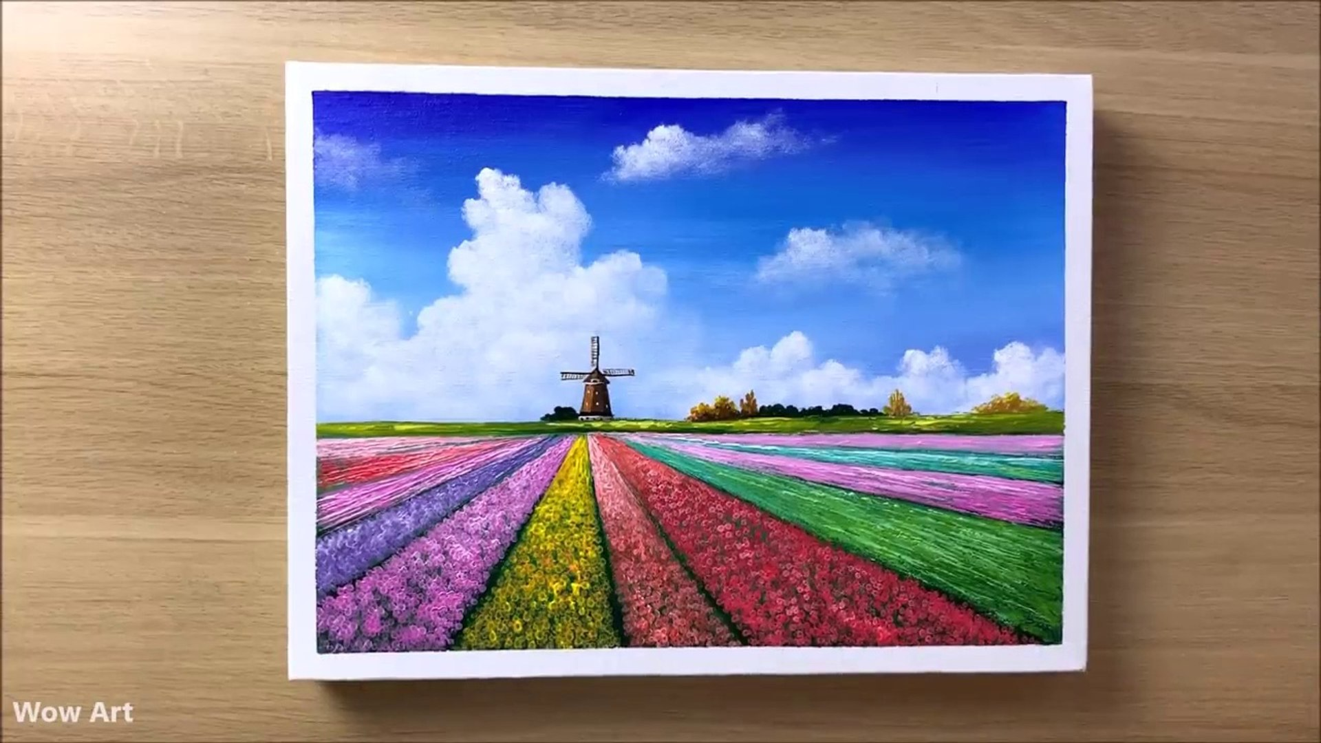 Daily Challenge 2 Tulip Field Acrylic Painting Video Dailymotion